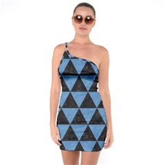 Triangle3 Black Marble & Blue Colored Pencil One Shoulder Ring Trim Bodycon Dress by trendistuff