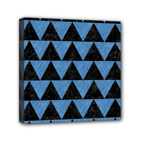 Triangle2 Black Marble & Blue Colored Pencil Mini Canvas 6  X 6  (stretched) by trendistuff