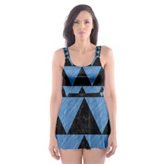 Triangle2 Black Marble & Blue Colored Pencil Skater Dress Swimsuit by trendistuff
