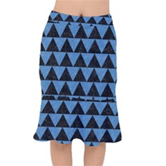 Triangle2 Black Marble & Blue Colored Pencil Short Mermaid Skirt by trendistuff