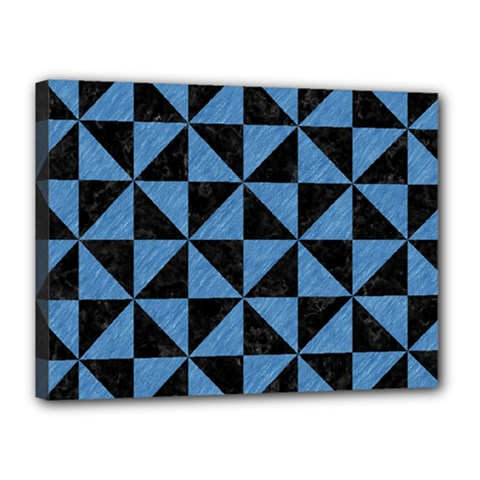 Triangle1 Black Marble & Blue Colored Pencil Canvas 16  X 12  (stretched) by trendistuff