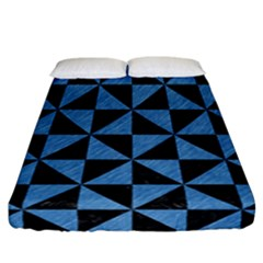 Triangle1 Black Marble & Blue Colored Pencil Fitted Sheet (california King Size) by trendistuff