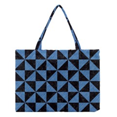 Triangle1 Black Marble & Blue Colored Pencil Medium Tote Bag by trendistuff