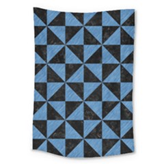 Triangle1 Black Marble & Blue Colored Pencil Large Tapestry by trendistuff