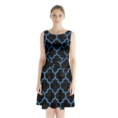 Tile1 Black Marble & Blue Colored Pencil Sleeveless Waist Tie Chiffon Dress
