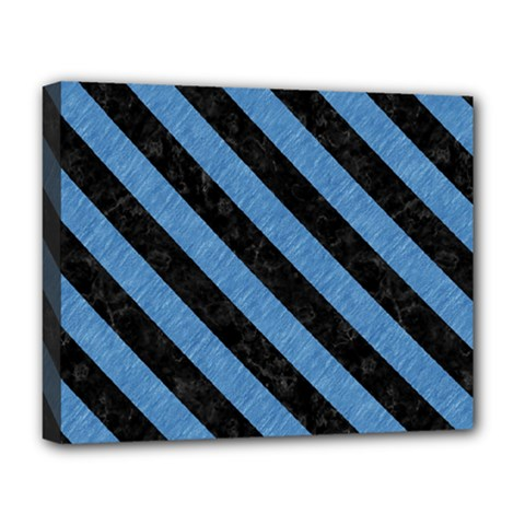 Stripes3 Black Marble & Blue Colored Pencil (r) Deluxe Canvas 20  X 16  (stretched) by trendistuff
