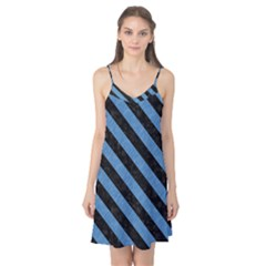 Stripes3 Black Marble & Blue Colored Pencil (r) Camis Nightgown  by trendistuff
