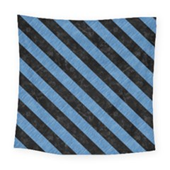 Stripes3 Black Marble & Blue Colored Pencil (r) Square Tapestry (large) by trendistuff