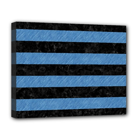 Stripes2 Black Marble & Blue Colored Pencil Deluxe Canvas 20  X 16  (stretched) by trendistuff