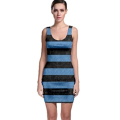 Stripes2 Black Marble & Blue Colored Pencil Bodycon Dress by trendistuff