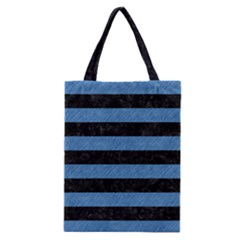 Stripes2 Black Marble & Blue Colored Pencil Classic Tote Bag by trendistuff