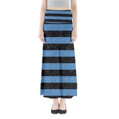 Stripes2 Black Marble & Blue Colored Pencil Full Length Maxi Skirt by trendistuff