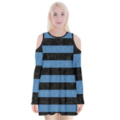 Stripes2 Black Marble & Blue Colored Pencil Velvet Long Sleeve Shoulder Cutout Dress