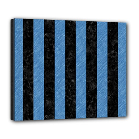 Stripes1 Black Marble & Blue Colored Pencil Deluxe Canvas 24  X 20  (stretched) by trendistuff
