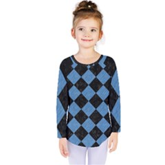 Square2 Black Marble & Blue Colored Pencil Kids  Long Sleeve Tee by trendistuff
