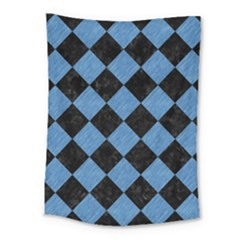 Square2 Black Marble & Blue Colored Pencil Medium Tapestry by trendistuff