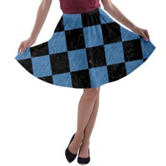 Square1 Black Marble & Blue Colored Pencil A Line Skater Skirt