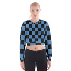Square1 Black Marble & Blue Colored Pencil Cropped Sweatshirt by trendistuff