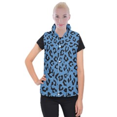 Skin5 Black Marble & Blue Colored Pencil Women s Button Up Puffer Vest by trendistuff