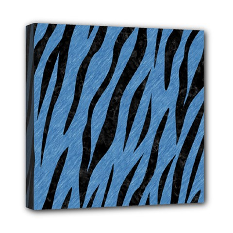 Skin3 Black Marble & Blue Colored Pencil (r) Mini Canvas 8  X 8  (stretched) by trendistuff