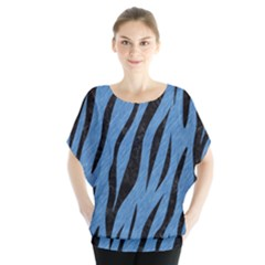 Skin3 Black Marble & Blue Colored Pencil (r) Batwing Chiffon Blouse by trendistuff