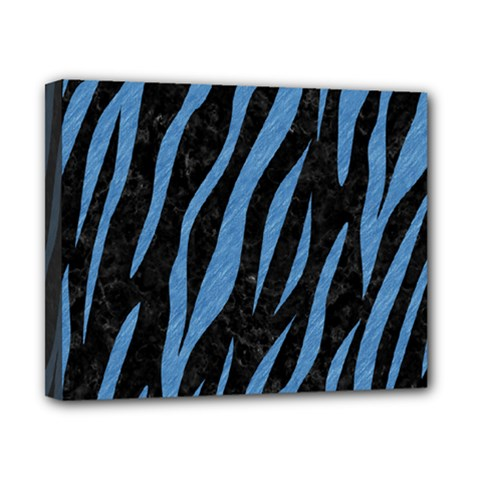 Skin3 Black Marble & Blue Colored Pencil Canvas 10  X 8  (stretched) by trendistuff