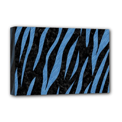 Skin3 Black Marble & Blue Colored Pencil Deluxe Canvas 18  X 12  (stretched) by trendistuff