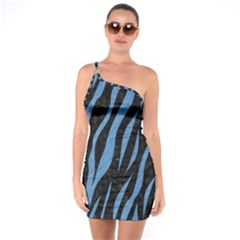 Skin3 Black Marble & Blue Colored Pencil One Shoulder Ring Trim Bodycon Dress