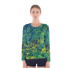 Flowers Abstract Yellow Green Women s Long Sleeve Tee by Costasonlineshop