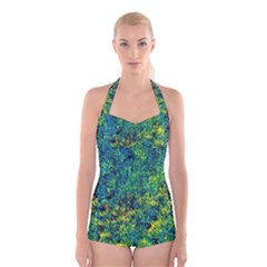 Flowers Abstract Yellow Green Boyleg Halter Swimsuit  by Costasonlineshop