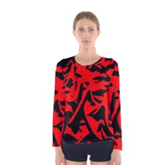 Red Black Retro Pattern Women s Long Sleeve Tee by Costasonlineshop