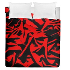 Red Black Retro Pattern Duvet Cover Double Side (queen Size) by Costasonlineshop