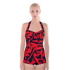 Red Black Retro Pattern Boyleg Halter Swimsuit  by Costasonlineshop