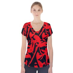 Red Black Retro Pattern Short Sleeve Front Detail Top by Costasonlineshop