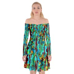 Turquoise Blue Green  Painting Pattern Off Shoulder Skater Dress