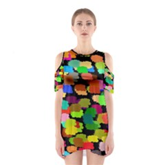 Colorful Paint On A Black Background                 Women s Cutout Shoulder Dress by LalyLauraFLM
