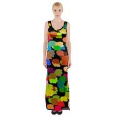 Colorful Paint On A Black Background                 Maxi Thigh Split Dress by LalyLauraFLM