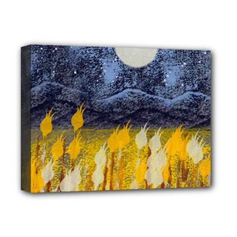 Blue And Gold Landscape With Moon Deluxe Canvas 16  X 12   by digitaldivadesigns