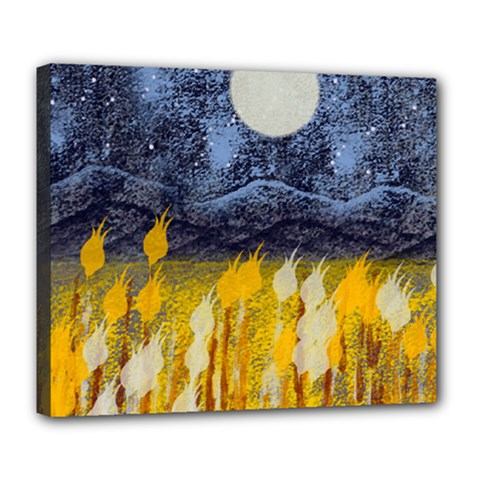 Blue And Gold Landscape With Moon Deluxe Canvas 24  X 20   by digitaldivadesigns