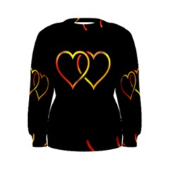 Heart Gold Black Background Love Women s Sweatshirt