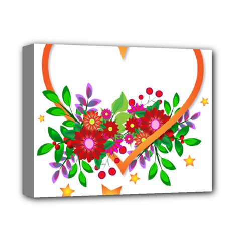 Heart Flowers Sign Deluxe Canvas 14  X 11
