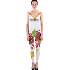 Heart Flowers Sign Onepiece Catsuit by Nexatart