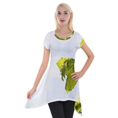 Leaves Nature Short Sleeve Side Drop Tunic