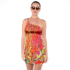 Background Texture Colorful One Soulder Bodycon Dress