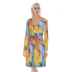 Spring Parrot Parrot Feathers Ara Long Sleeve Velvet Front Wrap Dress