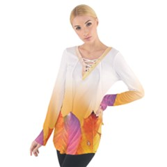 Autumn Leaves Colorful Fall Foliage Women s Tie Up Tee by Nexatart