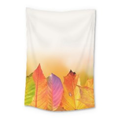 Autumn Leaves Colorful Fall Foliage Small Tapestry by Nexatart