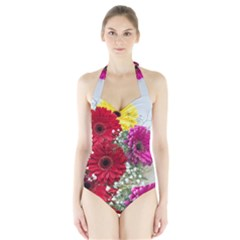 Flowers Gerbera Floral Spring Halter Swimsuit by Nexatart