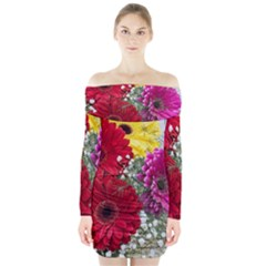 Flowers Gerbera Floral Spring Long Sleeve Off Shoulder Dress by Nexatart