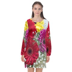 Flowers Gerbera Floral Spring Long Sleeve Chiffon Shift Dress